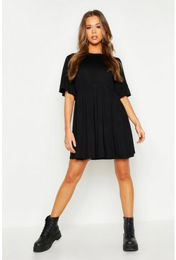 Womens Black Frill Sleeve Smock Dress