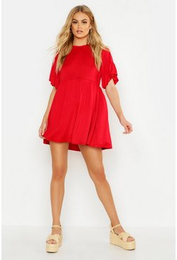 Red Frill Sleeve Smock Dress
