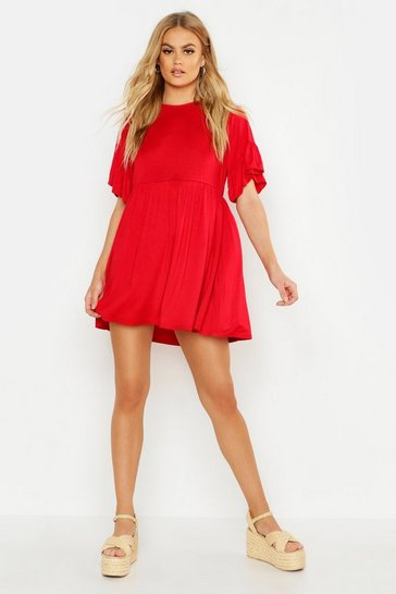 Womens Red Frill Sleeve Smock Dress