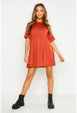 Womens Terracotta Frill Sleeve Smock Dress