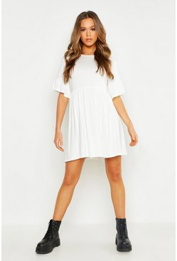 Womens White Frill Sleeve Smock Dress