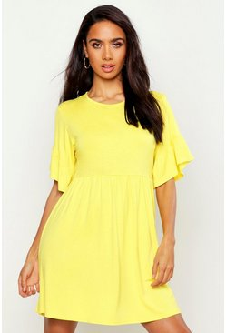 Womens Yellow Frill Sleeve Smock Dress
