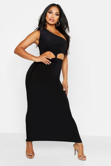 Womens Black One Shoulder Knot Cut Out Maxi Dress