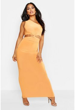 Womens Tangerine One Shoulder Knot Cut Out Maxi Dress