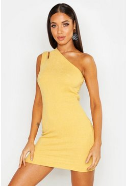 Womens Mustard Crinkle One Shoulder Mini Dress