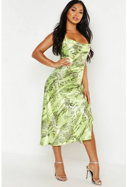 Womens Lime Snake Print Satin Midi Slip Dress