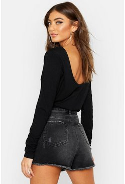 Black Basic Low Back Scooped Long Sleeve T-Shirt