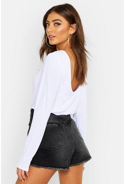 White Basic Low Back Scooped Long Sleeve T-Shirt