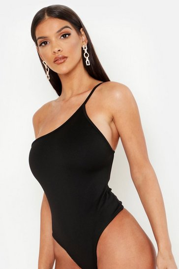 Womens Black Scuba One Shoulder Strap Bodysuit