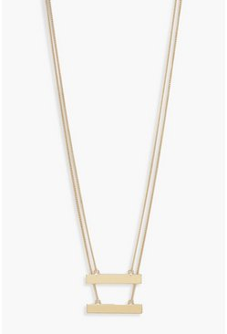 Womens Gold Double Bar Simple Layered Necklace