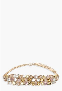 Womens Gold Premium Jewel Cluster Choker