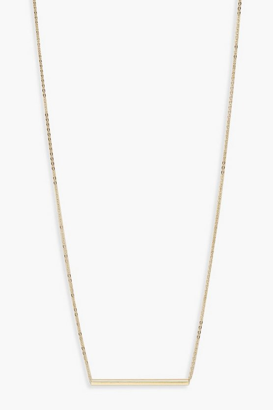 Womens Gold Simple Bar Necklace