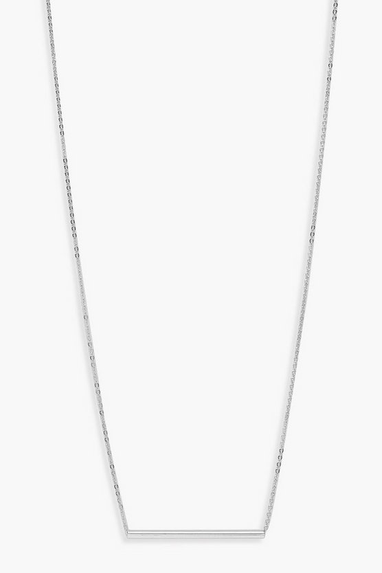 Womens Silver Simple Bar Necklace