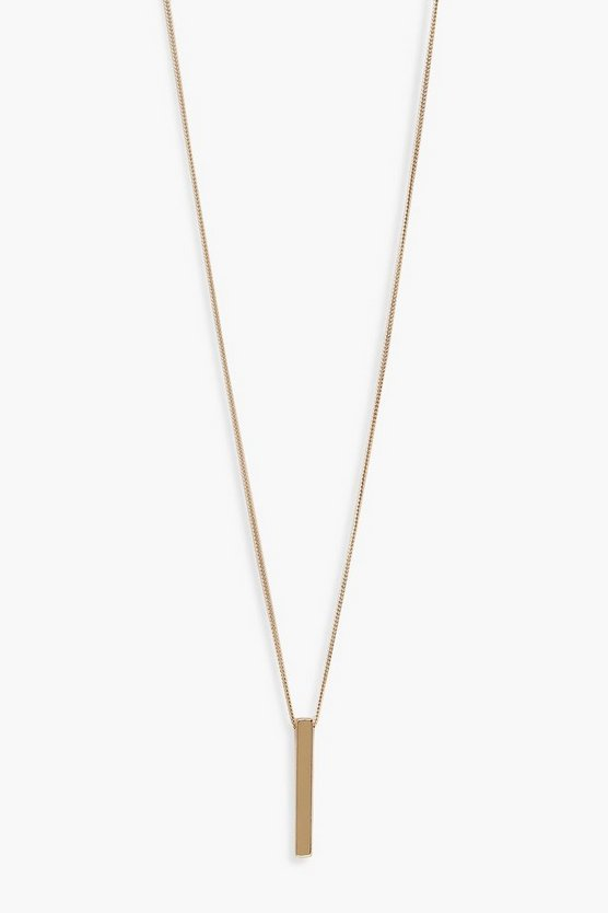 Simple Drop Bar Necklace by Boohoo