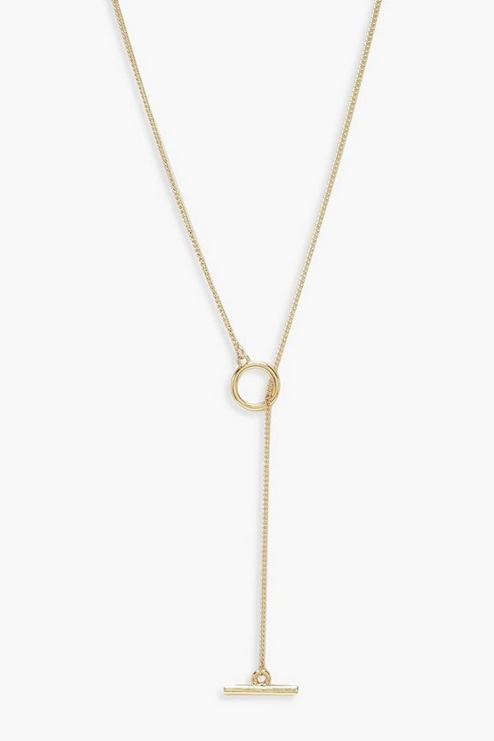 Gold Simple T-Bar And Circle Necklace