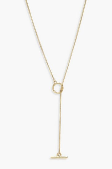 Womens Gold Simple T-Bar And Circle Necklace