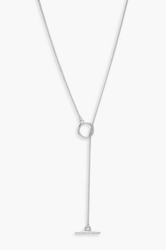 Womens Silver Simple T-Bar And Circle Necklace