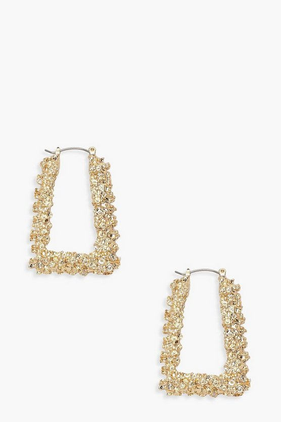 Gold Textured Trapezium Hoop Earrings