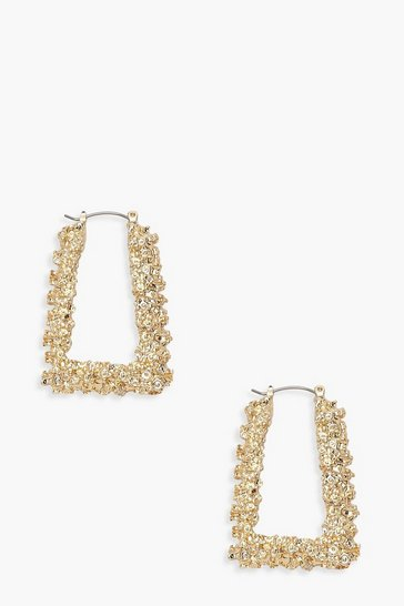 Womens Gold Textured Trapezium Hoop Earrings