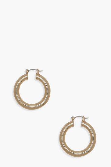 Womens Gold Premium Tube Small Hoop Earrings