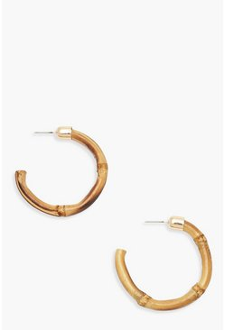 Womens Natural Bamboo Effect Hoop Earrings
