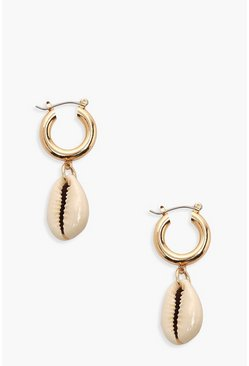 Womens Gold Shell Charm Mini Hoop Earrings