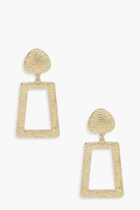 Gold Textured Metal Drop Earrings