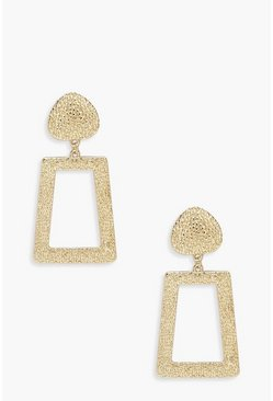 Womens Gold Textured Metal Drop Earrings