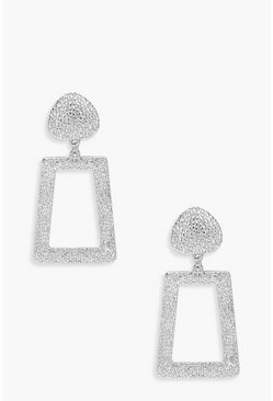 Womens Silver Textured Metal Drop Earrings