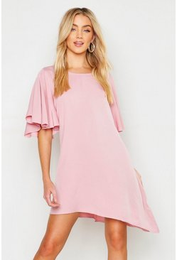 Womens Soft pink Woven Angel Flutter Sleeve Shift Dress