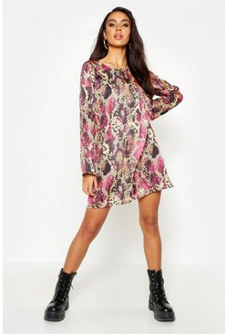 Womens Pink Woven Snake Shift Dress