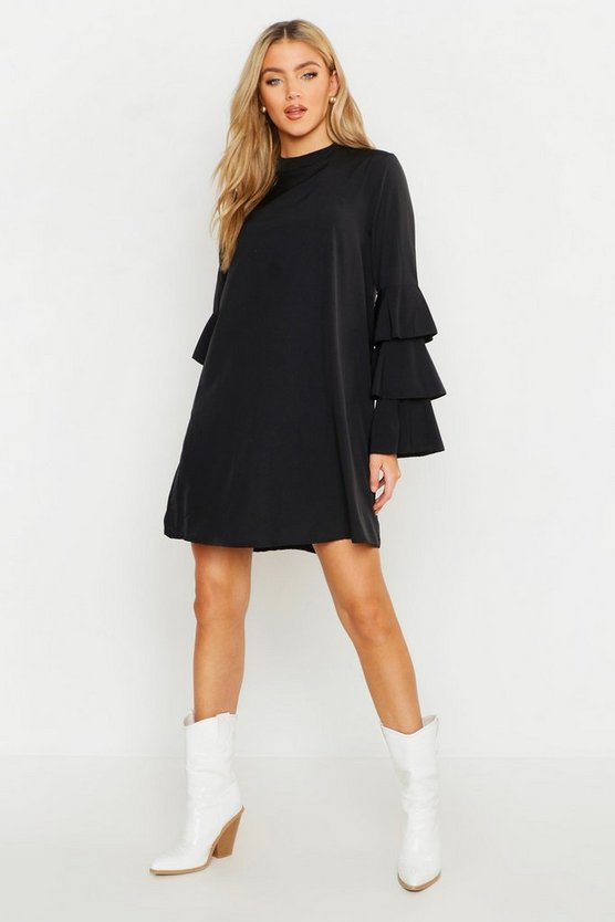 Womens Black Woven Tiered Sleeve Shift Dress
