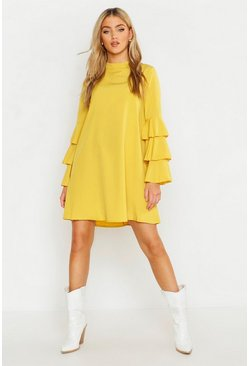 Womens Chartreuse Woven Tiered Sleeve Shift Dress