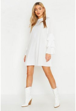 Womens Ivory Woven Tiered Sleeve Shift Dress
