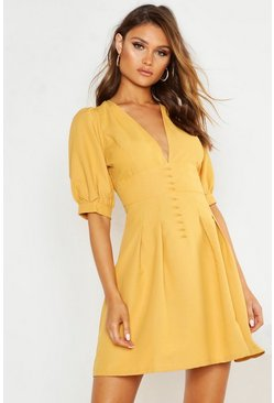 Womens Mustard V Front Button Detail Pleat Skater Dress
