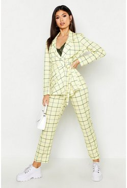Womens Yellow Checked Tapered Trouser