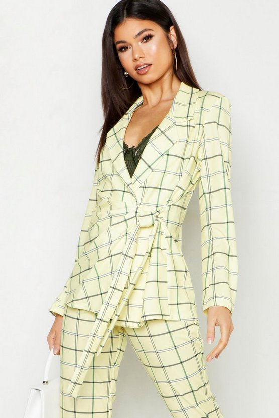 Womens Yellow Checked Tie Front Blazer