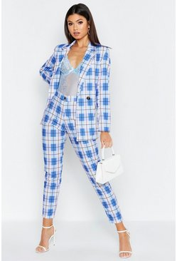 Womens Blue Check Tailored Tapered Trouser