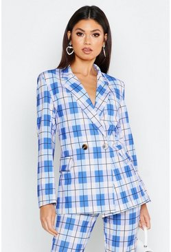 Womens Blue Oversized Printed Check Blazer