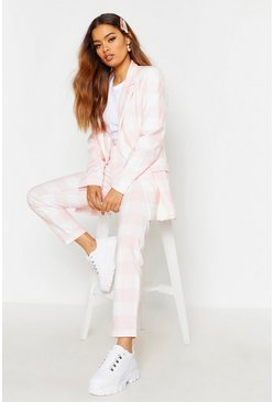 Womens Pink Check Tapered Pants