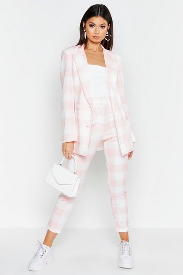 Womens Pink Checked Tailored Blazer