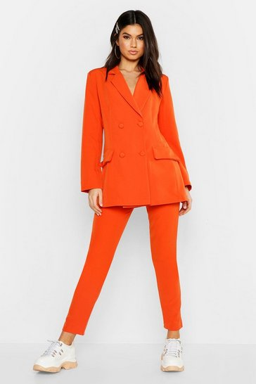 Womens Orange Tailored Straight Leg Trouser