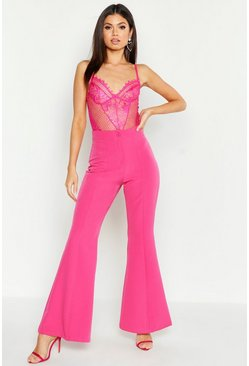 Womens Hot pink Kick Flare Tailored Trouser
