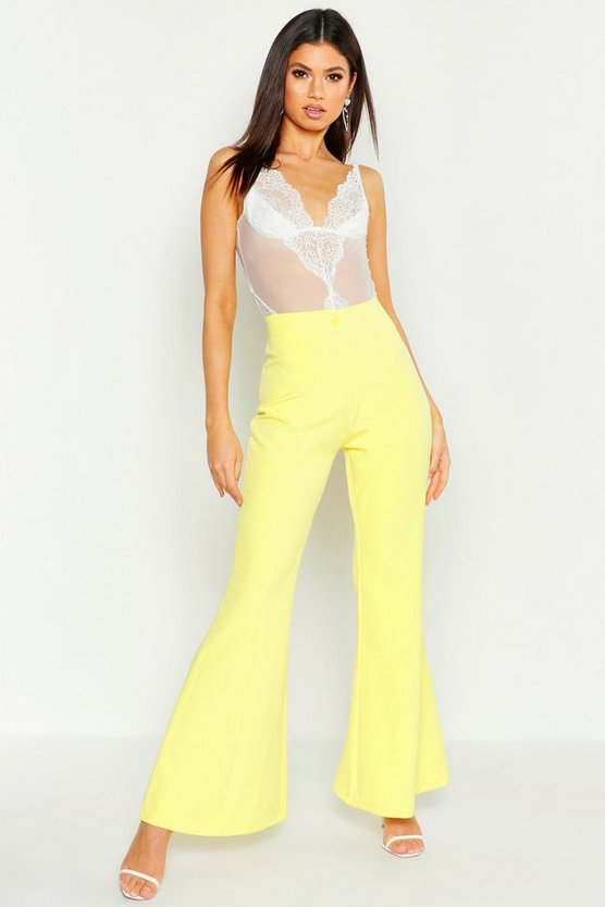 Womens Yellow Kick Flare Tailored Trouser