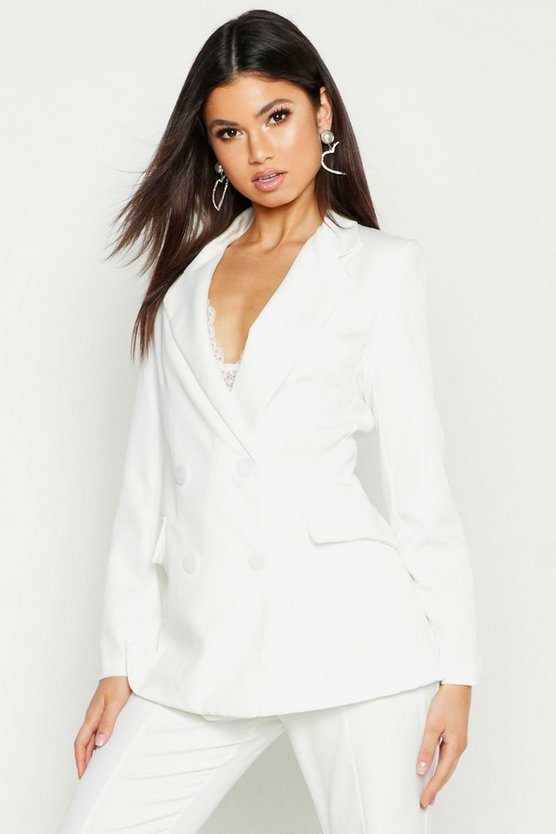 Womens Ivory Fitted Tailored Blazer