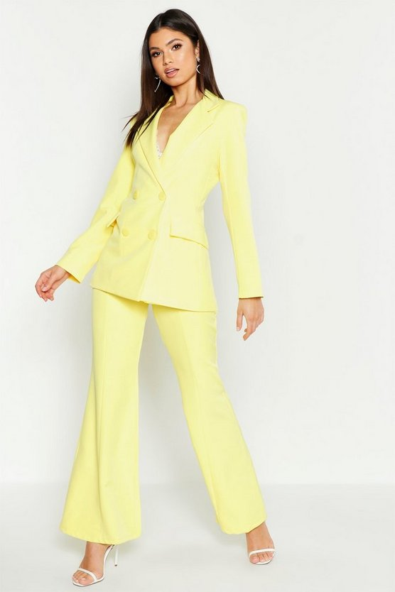 Womens Yellow Fitted Tailored Blazer