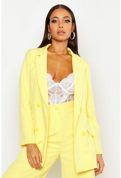 Womens Yellow Double Breasted Longline Blazer