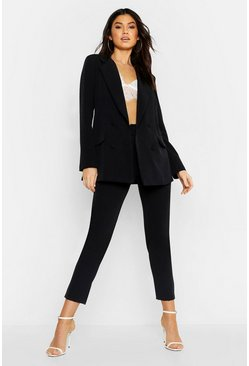 Womens Black Woven Oversized Button Tapered Trouser