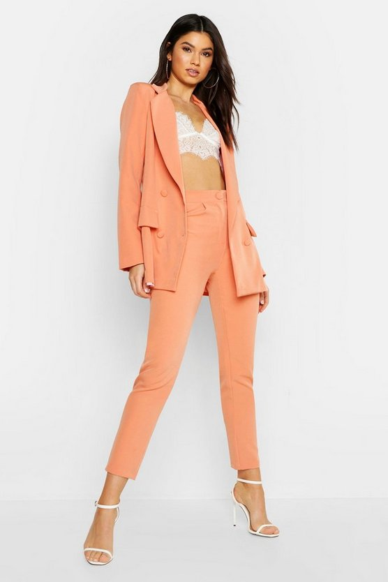 Coral Woven Oversized Button Tapered Pants