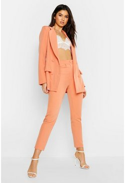 Womens Coral Woven Oversized Button Tapered Pants